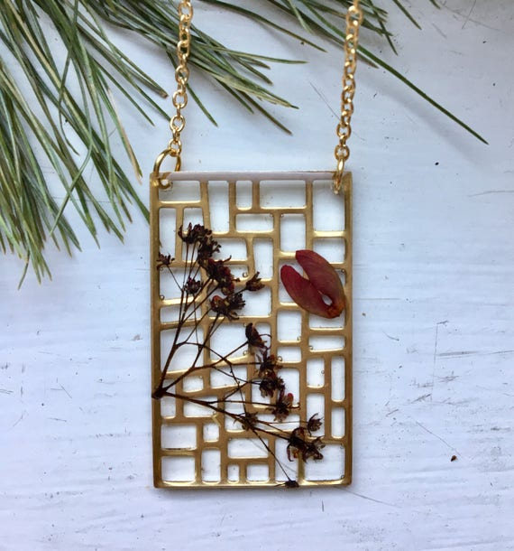 Brass filigree Japanese maple flowers and seeds necklace