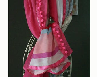 """Colorful scarf, pompom,""""style shanna""""pink and multicolor. Pink Echarpe.Etole.Cadeau.Grand pompom.foulard printed striped and polka dot scarf."""