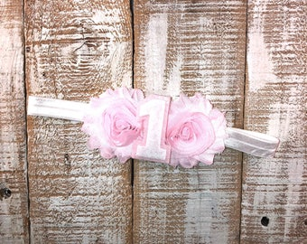 1st Birthday Headband, First Birthday Headband, Pink & White Birthday, Shabby Chic, Photo Prop, Cake Smash