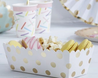 Gold Foil Polka Dot Food Trays | Gold Party Tableware | Children's Party Boxes | Childrens Party Tableware | Party Lunch Box | Gold