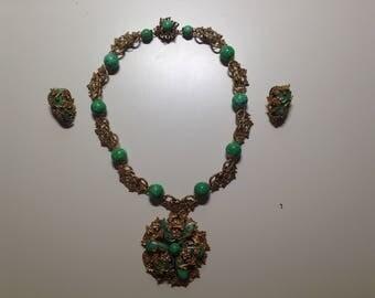 Frank Hess for Amourelle/Kramer or Miriam Haskell Green Brass 15# Choker and matching earrings