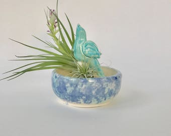 Green and Blue Bowl With Bird