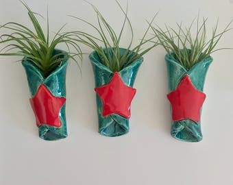 Red Star Hanging Air Plant Holders
