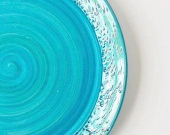 Handmade Wheel Thrown Medium and Large Green and Blue Serving Platters