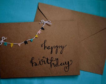 Handmade 'happy birthday' bunting birthday card.