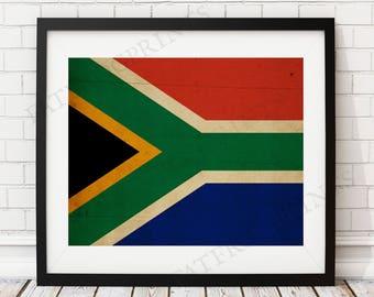 South Africa Flag Print, South African Flag Art, Flag Poster, Flag Wall Art, South African Art, South Africa Art, South African Gifts