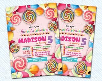 Digital Printable Sweet Birthday Invitation. Candy Birthday invitation. Sweets party