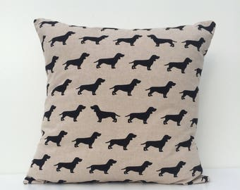 Dachshund cushion cover, silhouettes of sausage dogs, dog lovers, dachshund lovers, dachshund owner