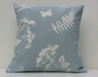 Moorland Duck Egg Blue, blue cushion cover, duck egg blue cushion cover, country style, duck egg blue, cushion cover, off white floral