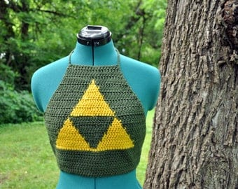 Legend of Zelda Inspired Triforce Halter Top -- Handmade Crochet