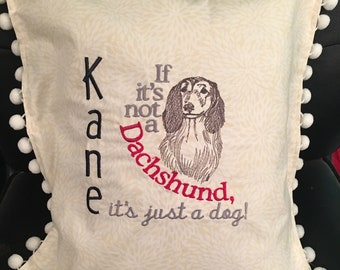 Embroidered Personalized Dachshund Pillow