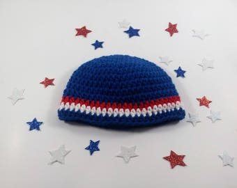 Red white and Blue hat, Fourth of July, Baby Hat