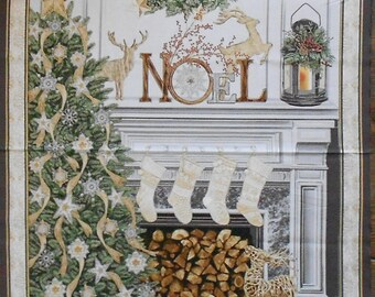 "Fabric Panel- Christmas/Xmas -Classic/NOEL/wreath/cream/white/fireplace/reindeer/stockings/tree with metallic/approx. 23"" x 43"" (#3766)"
