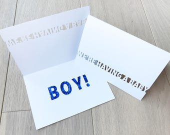 Baby Announcement and Gender Reveal Card - Dark Blue Glitter Letters Revealed Inside for a BOY!