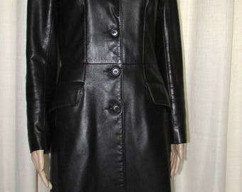 Vintage stunning black knee length leather coat / vintage beautiful Canada bust 38 knee length black leather coat