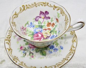"Royal Albert ""Nosegay"" Bone China Demitasse Cup & Saucer Multifloral Gold Scroll 1930s"