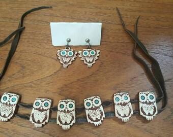Rare Vintage Early 70s LEONA CALDWELL Ceramic OWL Tiles Bracelet and Earrings Set Signed