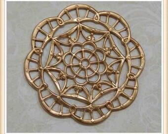 4 pcs raw brass filigree finding vintage embellishment ornate ornament #2905