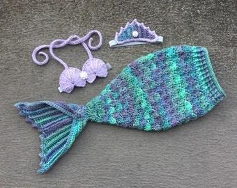 Newborn Mermaid Outfit, Baby Mermaid Outfit, Crochet Mermaid Outfit, Crochet Mermaid Tail, Mermaid Outfit