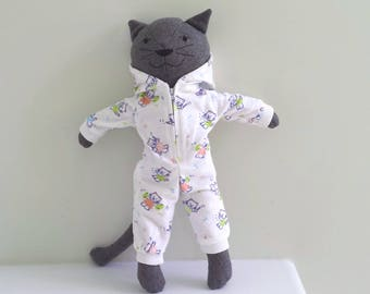 Handmade Stuffed Cat Doll, Rag Doll Cat in Onesie Pajamas and Dressing Gown, named Katie