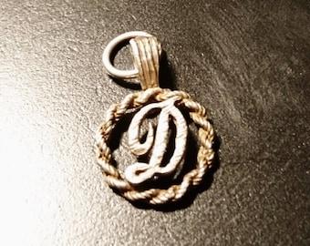 Antique silver letter D pendant, victorian initial pendant, D name