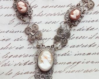 vintage cameo filigree necklace end 800