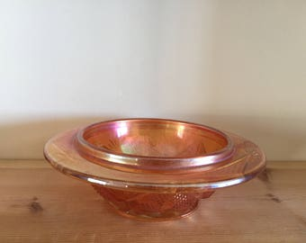 Vintage Carnival Glass Pressed Bowl with Rim