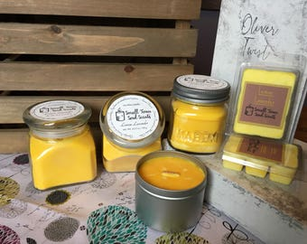Wood wick- natural soy wax- Lemon Lavender container candle and wax melts