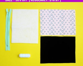 SALE Sewing Kit, DIY Kit, Sewing for Beginners, Pencil Case Kit, Easy Sewing Project, Craft Kit, kids diy kit, DIY Gift, Back to School