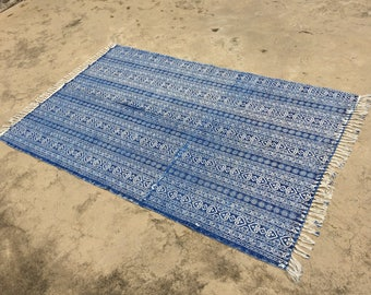 Stunning Hand Block Printed Specially Made Indigo Rug, 100% Hand Made,Hand-loom Fabric,Subtle,Boho Bohemian looks,Floor Mat,Wall Hanging