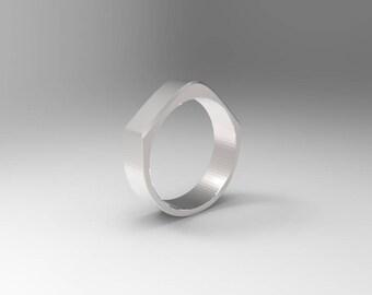 Vowel - V Ring - Modest - Sterling Silver Ring