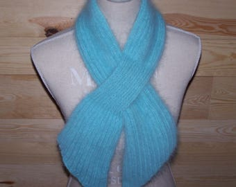 """""""The BURLE"""" scarf hand knitted angora clear Mint"""