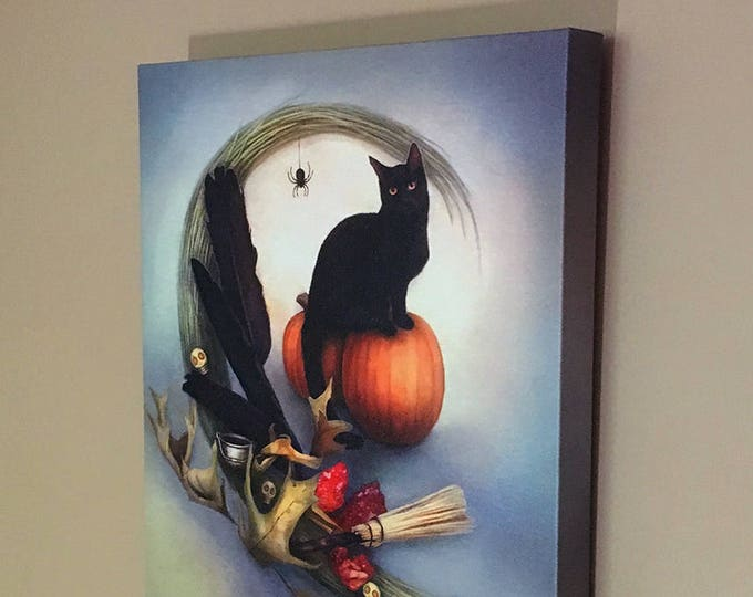 "Featured listing image: Shadow by Leanne Peters 11"" x 14"" Canvas Gallery Wrapped Print - Halloween Art - Black Cat Art - Fantasy Art"