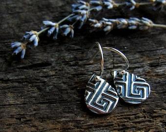 Geometric Silver Dangle Earrings, Artisan Silver Dangles, Fine Silver Dangles, Oxidized Patterned Earrings, Lightweight Everyday Dangles
