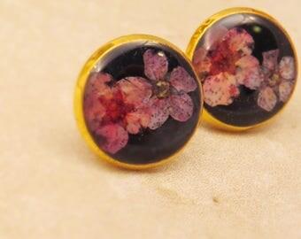 real flower earrings, real flower studs, purple flower earrings, botanical earrings, nature stud earrings, bridal earrings, purple studs