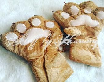 Fluffy Light Brown Stuffed Cat Paws