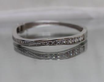 925 - Channel Set Cubic Zirconia CZ Bangle Bracelet in Sterling Silver