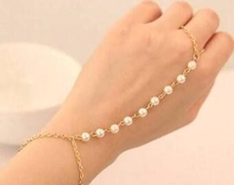 Designer Pearl Stone Adjustable Gold Polished Chain Hand Jewellery / Haath Phool / Finger Bracelet / Bamgles