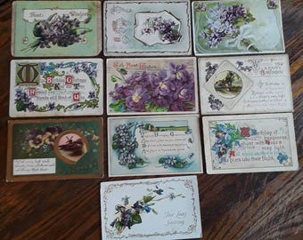 10 Lovely Antique Holiday Greetings Featuring Purple Flowers Vintage Ephemera Lot