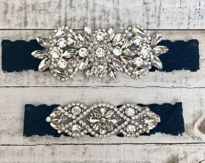 Something Blue Bridal Garter, navy garter, NO SLIP Lace Wedding Garter Set, bridal garter set, vintage rhinestones, pearl and rhinestone gar