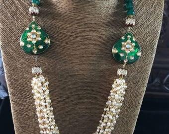 Multilayer white beads lakh minakari necklace