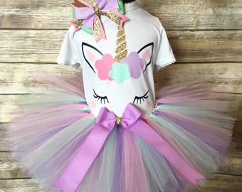 Unicorn tutu set | Birthday outfit | Little girls pastel unicorn shirt