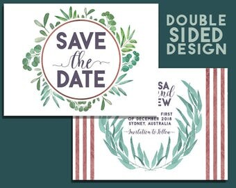 Eucalyptus Save the Date - DIY Printable Save the Date, 2 Sided Design - Save the Date Cards. Eucalyptus Wedding. Lavender Wedding.