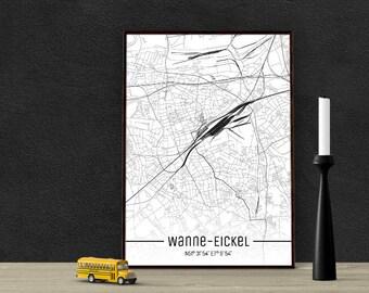 Tub-Eickel-just a map-din A4/A3-Print