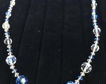 "Vintage Aurora Borealis Blue White 1950's Necklace 25"" Long EUC!"