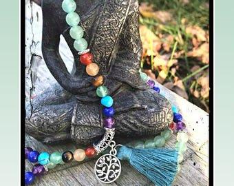 Green Aventurine, mala bracelet, mala necklace, 7 chakra, Chakra mala, healing stones, healing crystals, Meditation mala, Chakra bracelet