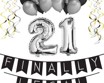 21st Birthday Party Pack – Black & Silver Happy Birthday Bunting, Poms, and Swirls Pack- Birthday Decorations - 21st Birthday Party Supplies
