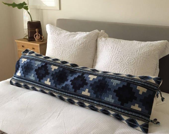 Maricela No.4: Long Pillow featuring Oaxacan Indigo, Grey & Off-White Wool Weaving