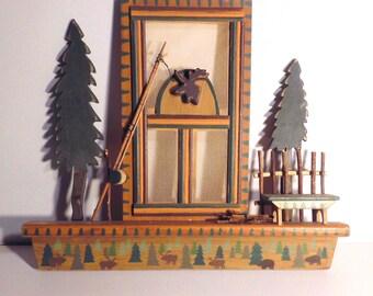 Northwoods Lodge Cabin Decor; Moose; Pine Trees; Hunting: Fishing; Wall Hanging; Rustic Americana