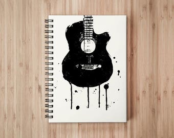 Guitar Notebook/Sketchbook Wire Bound - Blank pages
